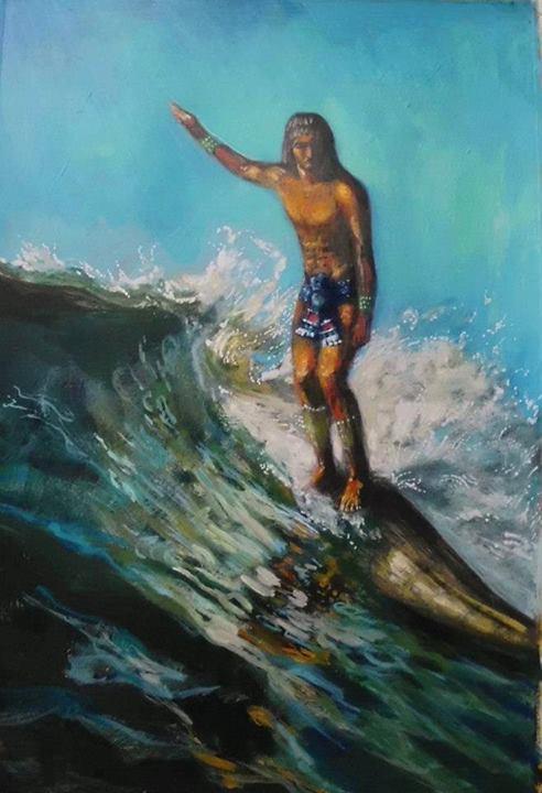 un inca peruano surfeando